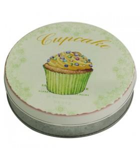 Boîte métal ronde cupcake verte 1