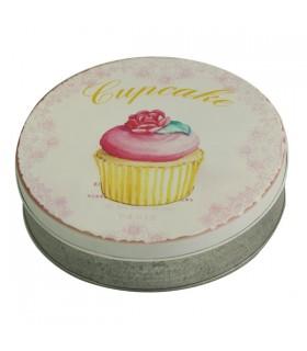 Boîte métal ronde cupcake rose 1