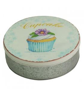 Boîte métal ronde cupcake bleue 1