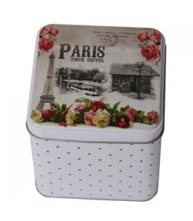 Boîte à Thé en Métal Décor Paris Vintage