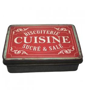 Boîte à Biscuits en Métal Cuisine Rouge