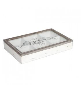 Boîte à thé en bois blanchi cérusé