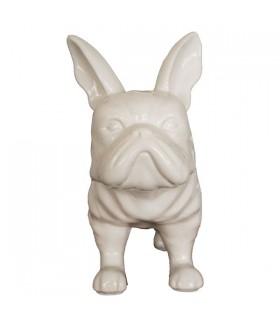 Bouledogue en céramique blanc