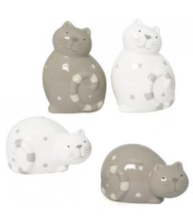 Chats décoratifs en porcelaine