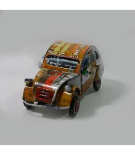 Voiture 2CV en métal recyclé|20*10,5*7,5 cm| Grand Modèle 01