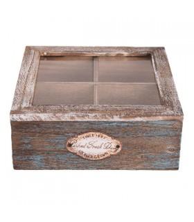 Boîte à thé compartimenté Cérusée Bleue 1