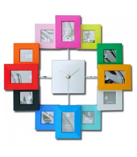 Horloge porte-photos multicolore