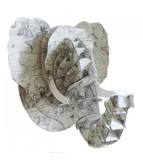 Trophée Éléphant Carte Ancienne